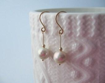 pearl earrings dangle drop earrings, bridal earrings wedding earrings, dainty gold filled rose gold modern minimalist earrings pink pearls