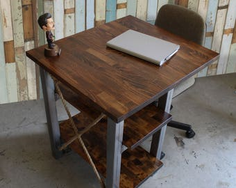 Rustic Industrial Small Desk With 2 Shelves U0026 Solid Wood Butcher Block Top    Steel Tube