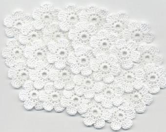Crochet flowers white crochet flowers Crochet applique flowers Handmade applique Flowers 2.5 cm/0.98 inches 30 pcs