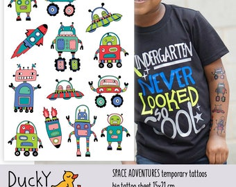 "Temporary tattoos ""Space adventure"". Kids tattoos with UFO, rocket, robot, spaceship. Robot and space party favors and goodie bags fillers"
