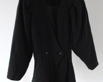 SALE 80s Vintage Black Peplum Jacket