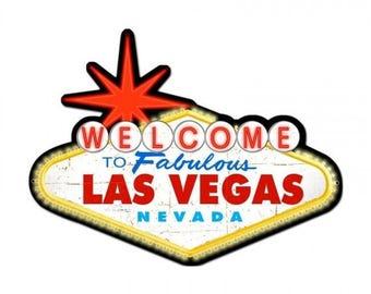 "Metal Sign ""Welcome To Fabulous Las Vegas Nevada "" 28""x21"" Man Cave"