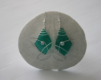 Turquoise Recycled Glass Earrings with Silver Spirals