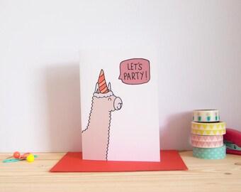 Birthday Card / Party Alpaca / Alpaca Birthday Card