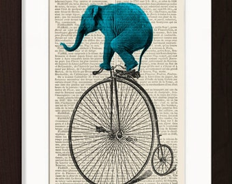 Elephant Print - Blue Elephant on Old Bicycle altered art  mixed media  Print on 1880s French Dictionary Recycled Page