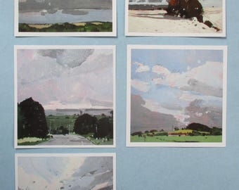 20 Square Postcards, 4 Cards Each of 5 Different Landscape Paintings by Canadian Artist Harry Stooshinoff