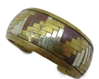 Silver, Brass and Copper Cuff Bracelet - Adjustable, Woven, Boho Style Bangle