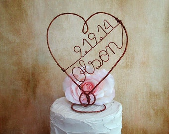 Rustic Wedding Cake Topper with Name and Date, Rustic Wedding Cake Decoration, Rustic Wedding Centerpiece, Wine Wedding Decoration