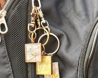 Bag Clip for Map Gifts, Backpack Clip for Map Pendants, Man Bag Clip, Comes in Silver, Brass and Copper,KeyRing Clips, KeyChain Clips