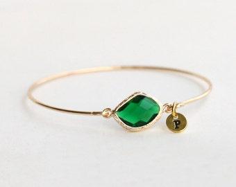 May birthstone bangle bracelet, Personalized initial bangle bracelet, birthstone jewelry, bridesmaid gifts, birthday, wedding jewelry