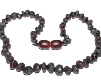 Genuine Raw Baltic Amber Baby Teething Necklace Black Unpolished