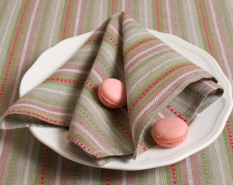 Christmas Linen/Cotton 4 Napkins, Linen Napkins, Red, Green, Grey Linen Napkins, Table Decoration, Dining Table Napkins, Christmas Gift