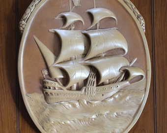 Vintage Chalkware Tall Ship Plaque