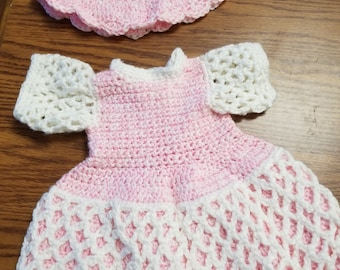 Crocheted Doll Dress and hat