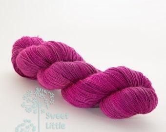 Hand dyed pink purple Merino superwask Yak hank skein