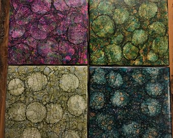 Alcohol Ink Ceramic Tile Coaster