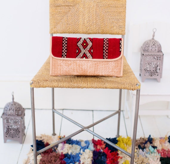 Moroccan Red Kilim Hand Clutch with Shoulder Straps Berber style-bag, tote, handbag, purse, weekender,gifts, Ramadan, Eid