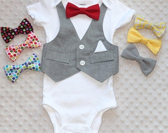 Smash Cake Outfit, Baby Boy Outfit, Baby Bowtie One Piece, Baby Vest and Bowtie Bodysuit, Baby Bodysuit, Photo Prop
