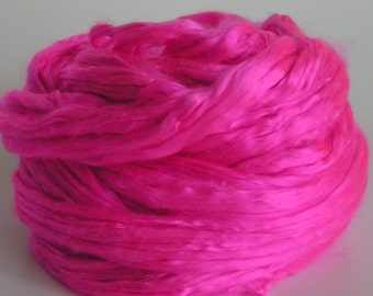 Silk Top Roving Sliver Cultivated Mulberry PINK FLAMINGO Supreme Luxurious Fine Quality Handspinning Felt Craft Fusion Florida Series 2 oz