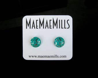 Teal with Large Silver Glitter Petite Glass Earrings