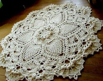 Crocheted Rug / Rag Rug. Shabby, Boho
