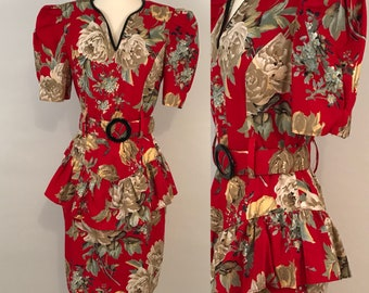 80s Red Floral Peplum Dress Vintage Puffed Sleeves Party Dress