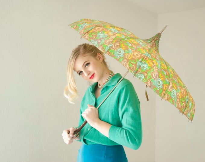 Vintage gold floral umbrella, green yellow brown pagoda parasol rounded, wooden handle, 1960s pin-up