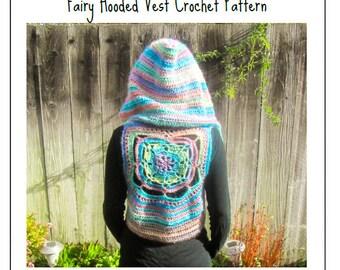 Fairy Hooded Vest Crochet Pattern - Bohemian Pixie Hippie Festival Flower Crochet Vest Pattern - PDF CROCHET PATTERN