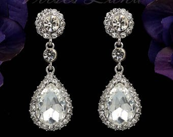 "PAIR Dangle Crystal Vintage Silver Wedding Prom gauges plugs tunnels 2g 0g 00g 7/16"" 1/2"" 6mm 8mm 10mm 11mm 12mm"
