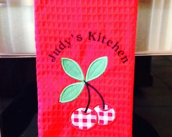Personalized, Embroidered Cotton Kitchen Towel with Cherry Appliqué