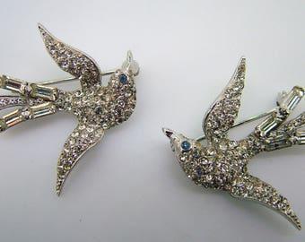 Vintage Sterling Bird Set in Rhinestones - 1940-50 - Wonderful!