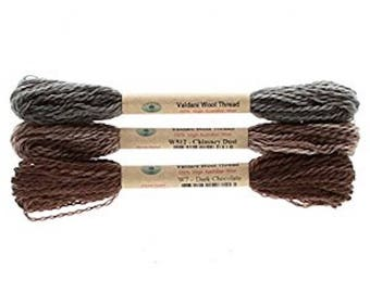 """Floss & Threads: Wool Floss by Valdani Set/3 """"Primitives"""" - Size 8 - Hand Dyed Colorfast"""