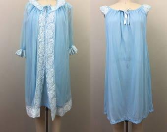 Vintage 60s Berkliff PEIGNOIR SET Blue n White Lace Babydoll Nightgown Robe Sheer Lingerie S