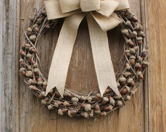 Acorn Wreath, Fall Wreath, Autumn Wreath, Rustic Wreath, Natural Wreath, Front Door Wreath, Acorn Decor, Natural Decor, Woodland Decor