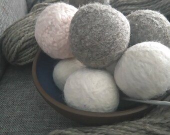 Six Handmade Wool Dryer Balls