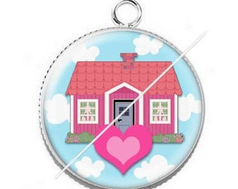Pendant cabochon resin 14 happiness home