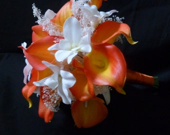 Orange real touch calla lily, baby's breath, ivory orchid bouquet
