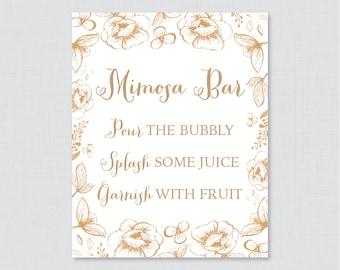 Gold Mimosa Bar Sign - Floral Bridal Shower Mimosa Bar Sign Printable - White and Gold Garden Bridal Shower Sign - Gold Bar Sign 0027