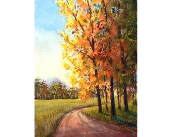 Arbres d'automne paysage aquarelle peinture impression country road 4 quatre saisons l'automne voie de forêt paysage couleurs 7 x 10 jet d'encre