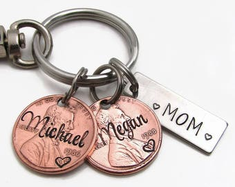 Personalized Penny Keychain, Hand Stamped Keychain, Personalized Lucky Us Keychain, Personalized Dad Gift Personalized Mom Gift, Lucky Penny