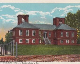 Fredericksburg, Virginia Vintage Postcard - Stratford Hall, Virginia Plantation, Robert E Lee, Lighthorse Harry
