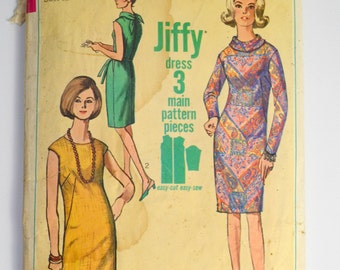 1960 Fashion Simplicity Pattern 6437 Jiffy Sheath, Mini/Midi Dress