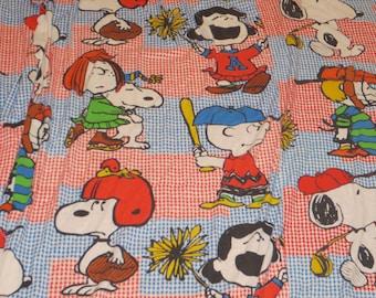 Vintage 1960's Peanuts Twin Bedspread, Peanuts Gang Bedspread, Peanuts Characters, Snoopy, Lucy, Charlie Brown