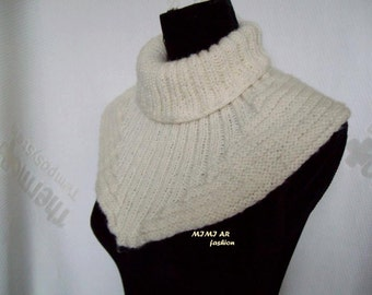 Ecru  Knitted cowl , Asymmetrical Striped , Hood Cowl