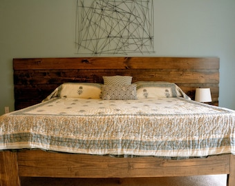 Reclaimed Rustic Pine Platform Bed With Headboard And 4