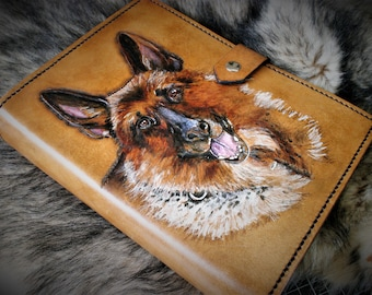 customised agenda, carved leather diary, binder, with your favorite animal companion