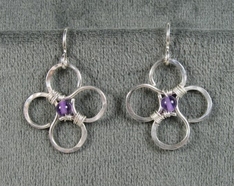 Sterling Silver Hammered Flower Earrings wtih Amethyst