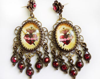 Earrings, chandelier Earrings, Sacred heart earrings, Immaculate heart earrings, Ruby red, Cranberry red, long earrings, catholic, gift, red