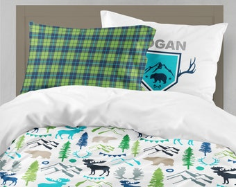 Woodland Boy Twin Bedding, Boy Room, Toddler Bedding Boy, Moose Boy Bedding,  Mountains, Bear, Forest, Twin Sheet, Toddler Sheet, Boy Sheet