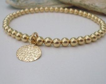 Gold Bracelet for Women, Beaded Bracelet Gold, Stretch Gold Bracelet, Gold Filled Charm Bracelet, Stretch bracelet, friend gift, handmade